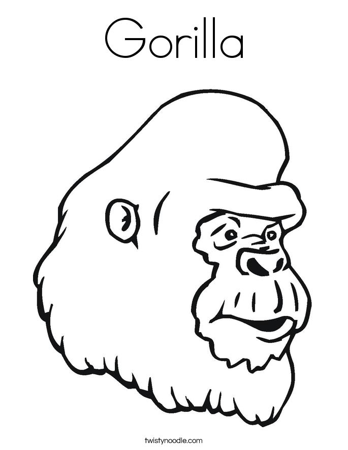 Gorilla Coloring Page Twisty