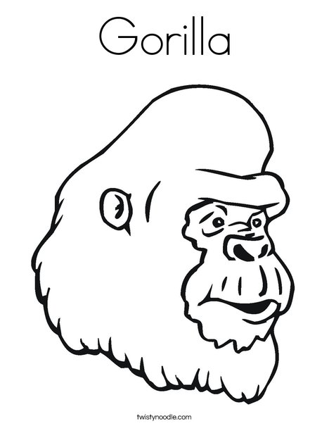 Gorilla Coloring Page - Twisty Noodle
