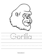 Gorilla Handwriting Sheet