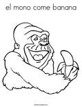 el mono come bananaColoring Page