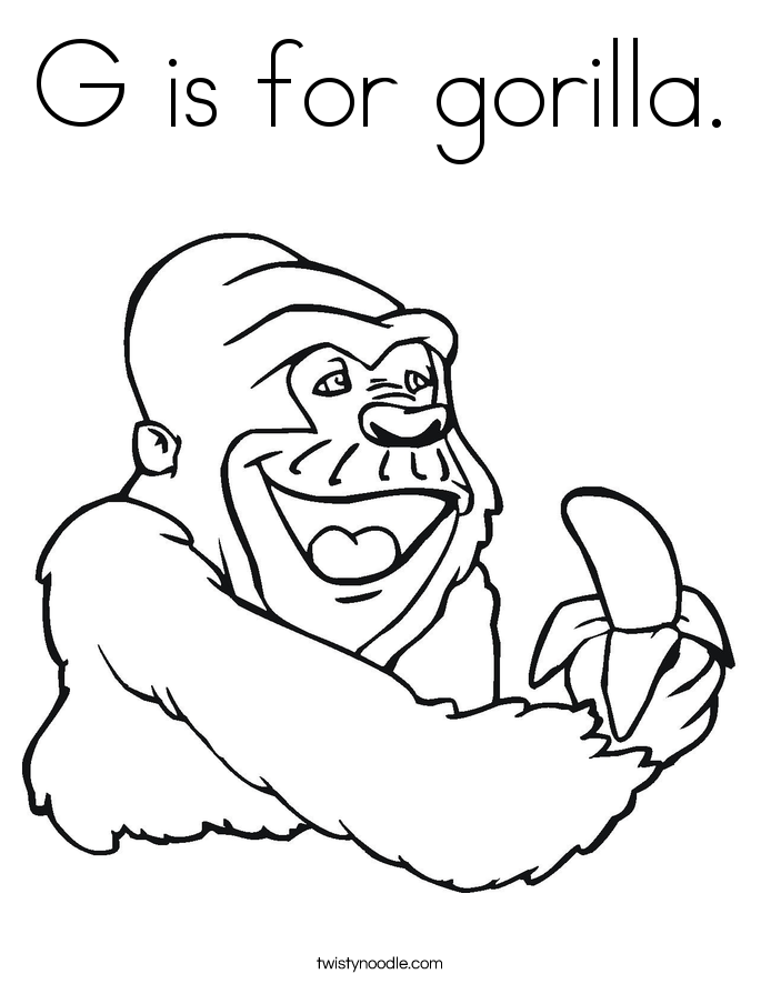 G is for gorilla. Coloring Page