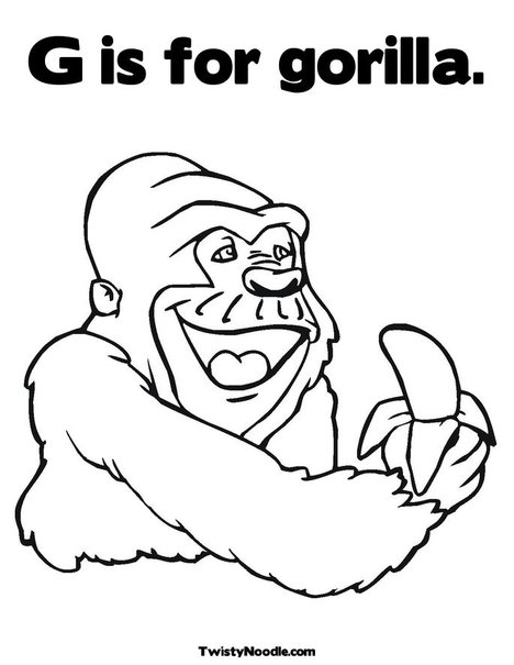 gorilla face coloring page pictures