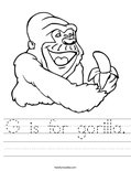 G is for gorilla. Worksheet