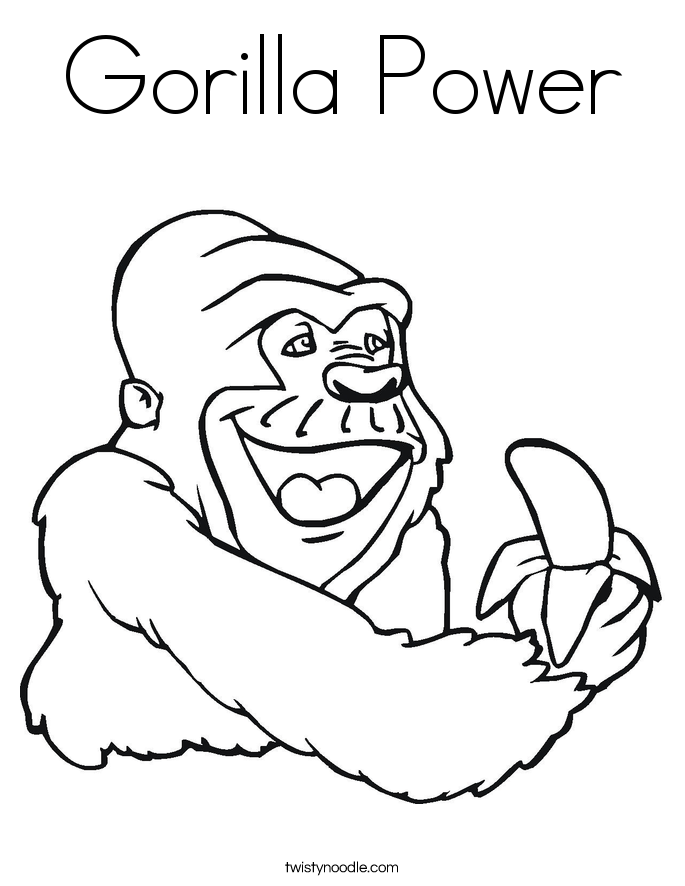 Gorilla Power Coloring Page