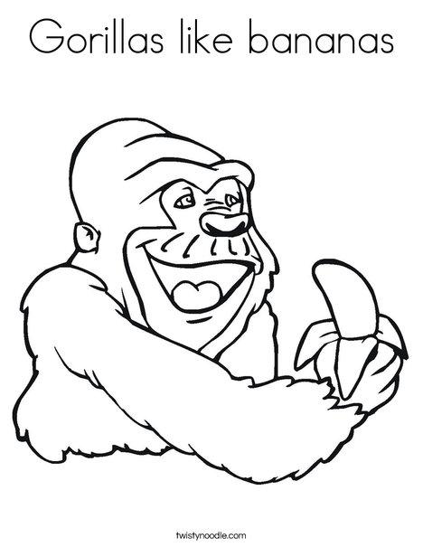 Gorilla Eating a Banana Coloring Page