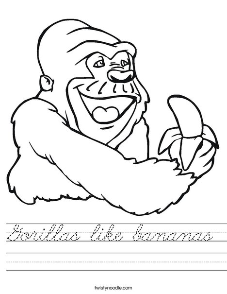Gorilla Eating a Banana Worksheet