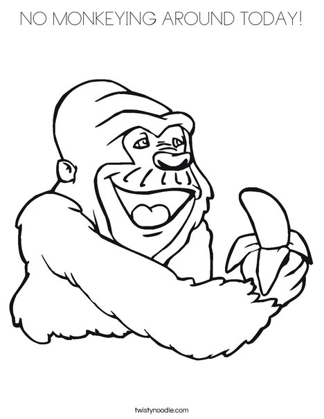 Gorilla Eating a Banana Coloring Page