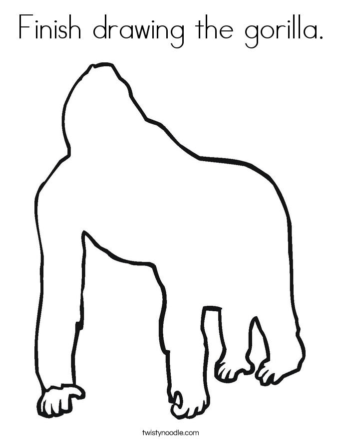Finish drawing the gorilla. Coloring Page