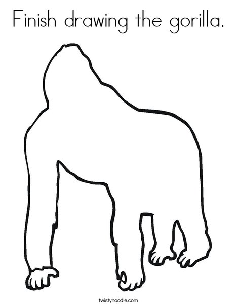 Blank Gorilla Coloring Page