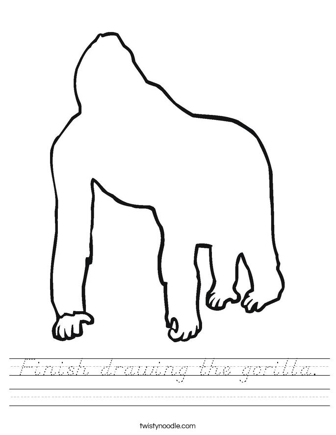 Finish drawing the gorilla. Worksheet