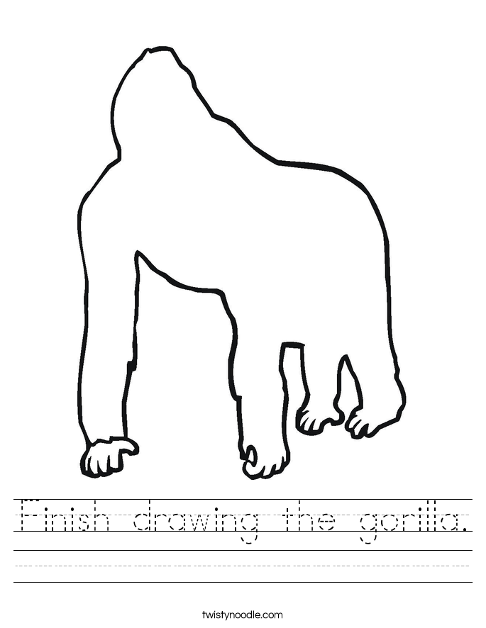 Finish drawing the gorilla. Worksheet