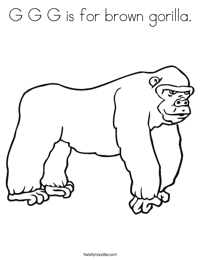 G G G is for brown gorilla. Coloring Page