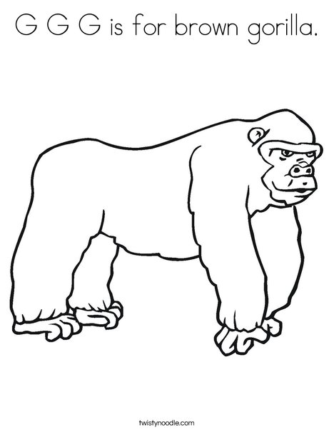 G Is For Brown Gorilla Coloring Page