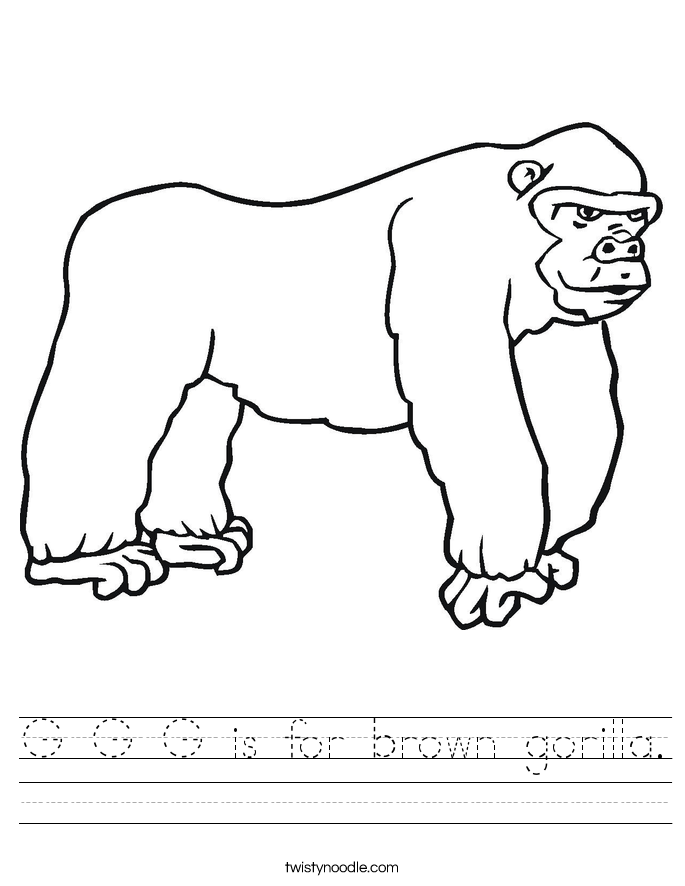 G G G is for brown gorilla. Worksheet