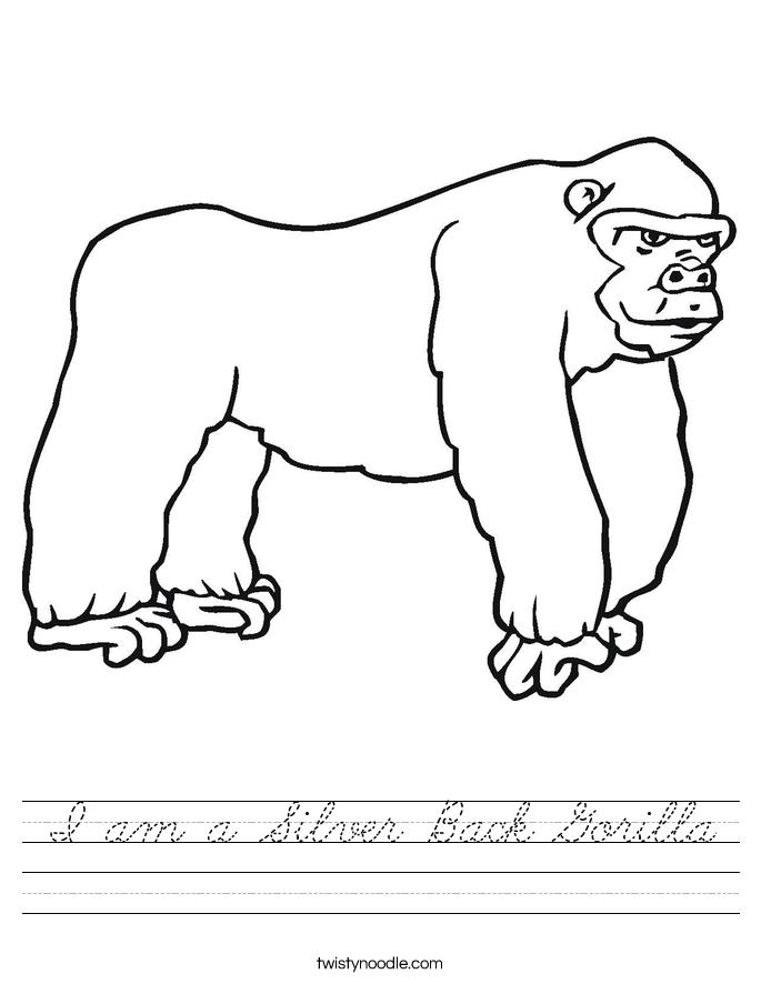 I am a Silver Back Gorilla Worksheet