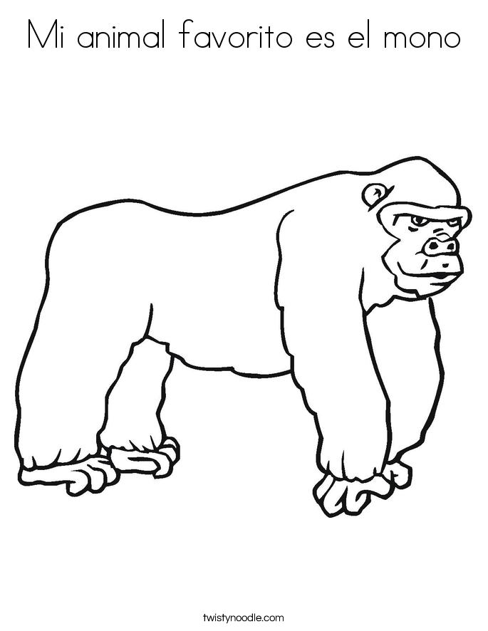 Mi animal favorito es el mono Coloring Page