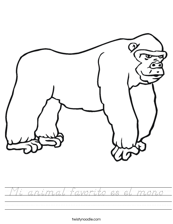 Mi animal favorito es el mono Worksheet