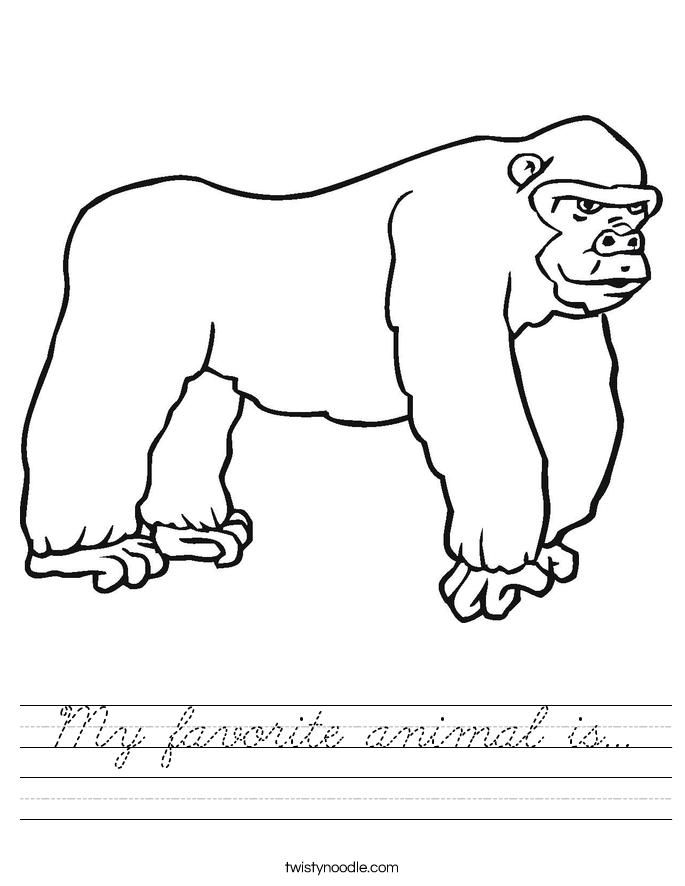 My favorite animal is Worksheet - Cursive - Twisty Noodle