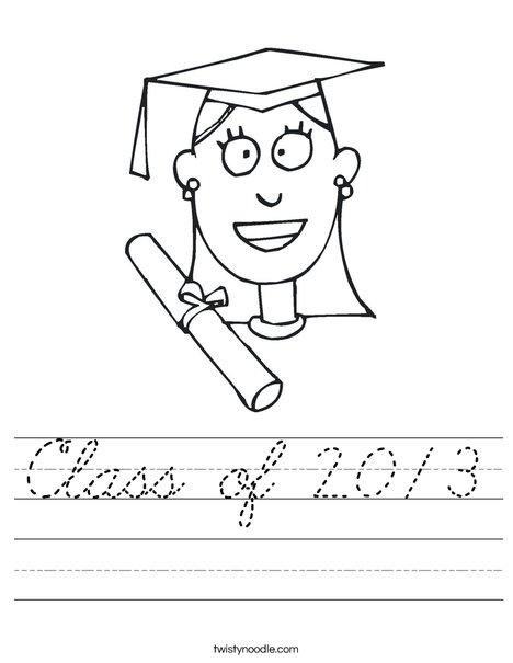 Girl Graduate Worksheet