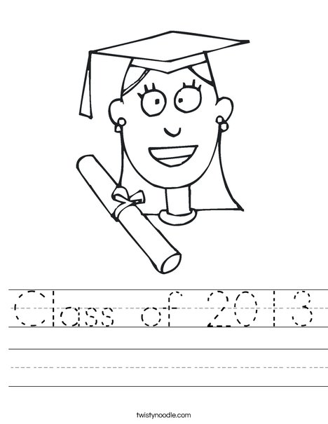 Girl Graduate Worksheet