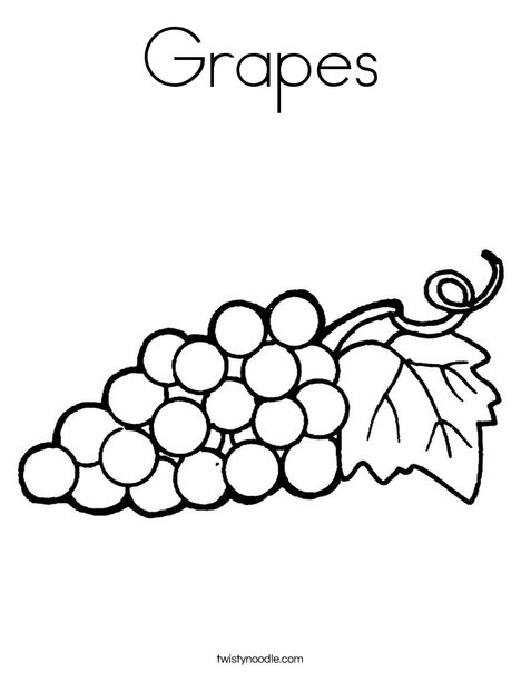 grapes with leaf coloring page - Grapes Coloring Page