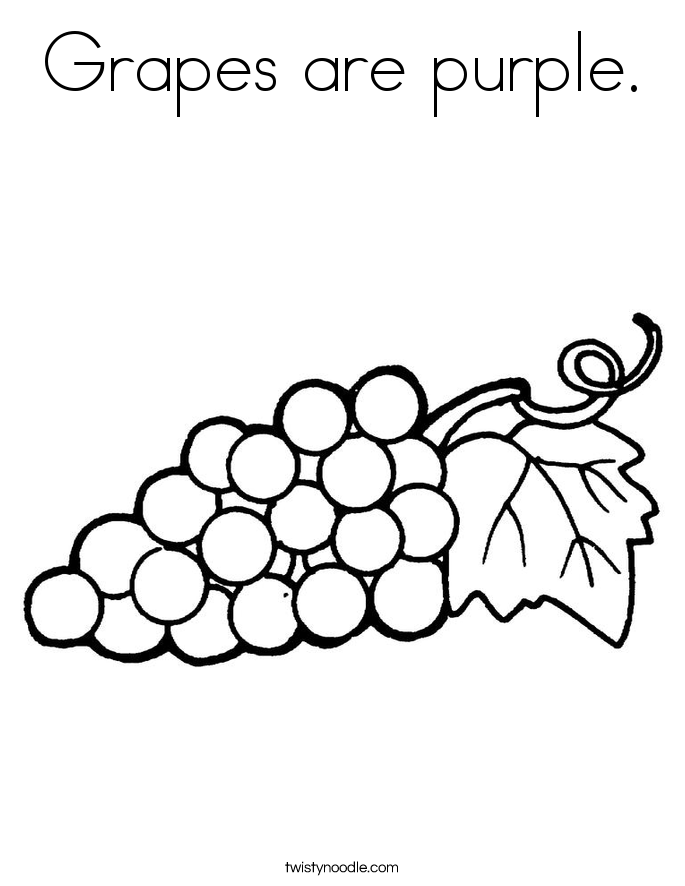 Grapes are purple. Coloring Page