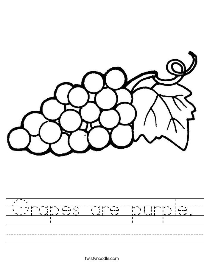 Grapes are purple. Worksheet