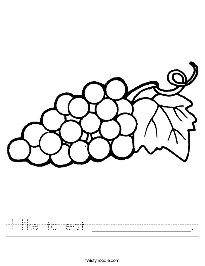 I like to eat _______________. Worksheet