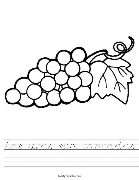Grapes with Leaf Worksheet