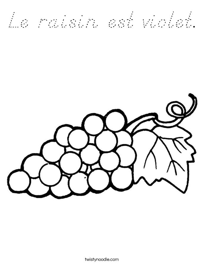 Le raisin est violet. Coloring Page