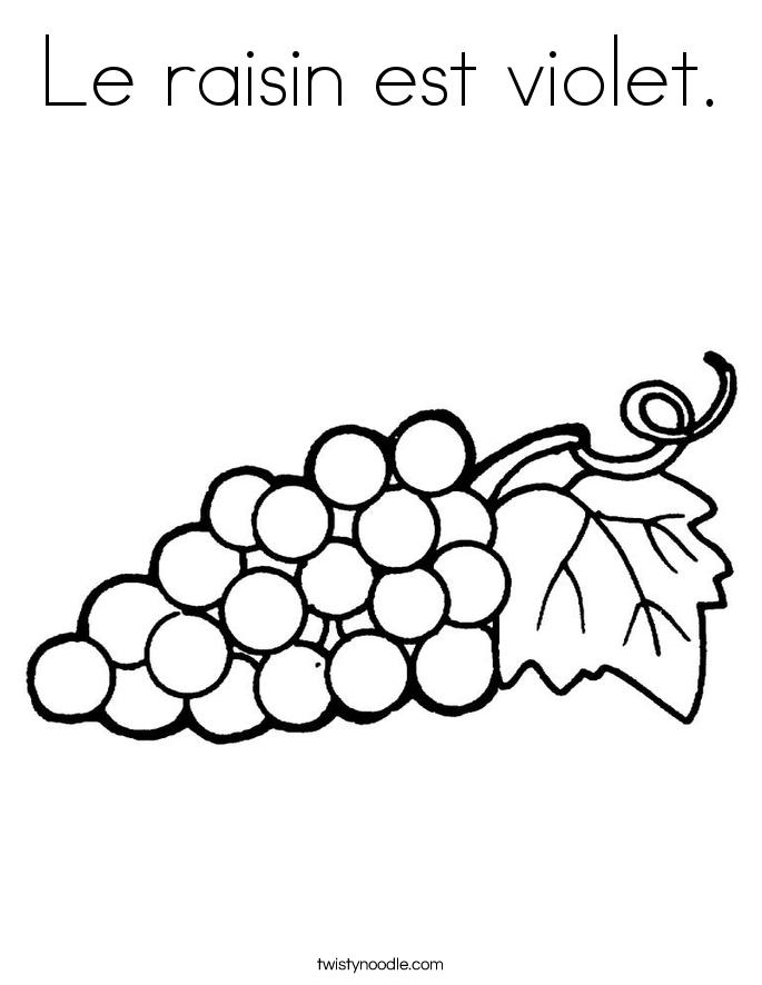 Le raisin est violet coloring page twisty noodle for Raisins coloring page