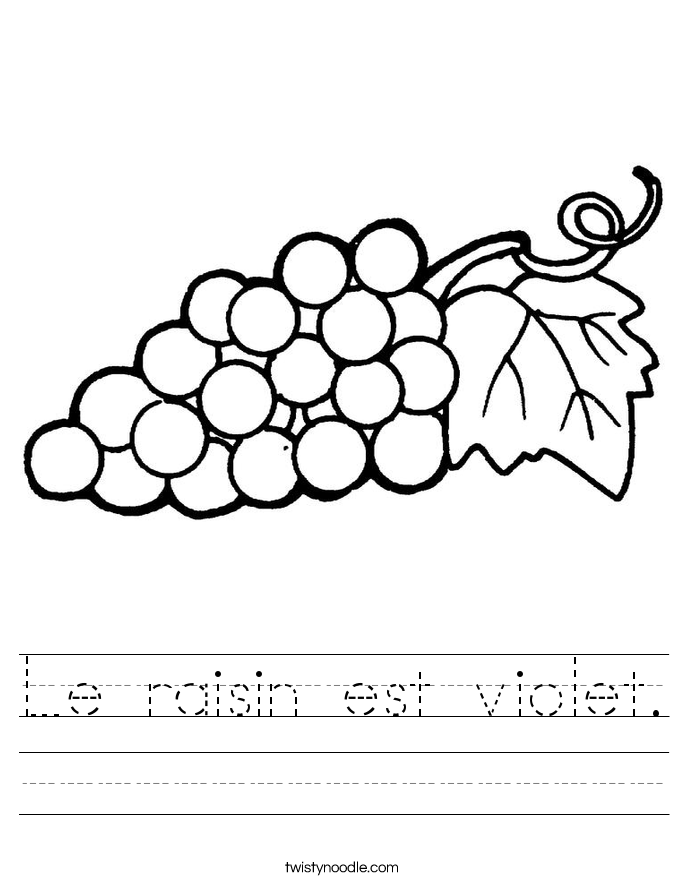Le raisin est violet. Worksheet