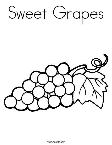 Grapes with Leaf Coloring Page