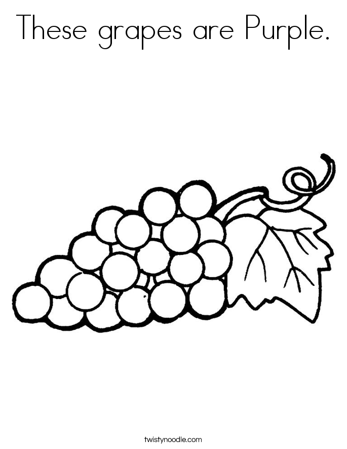 These grapes are Purple. Coloring Page