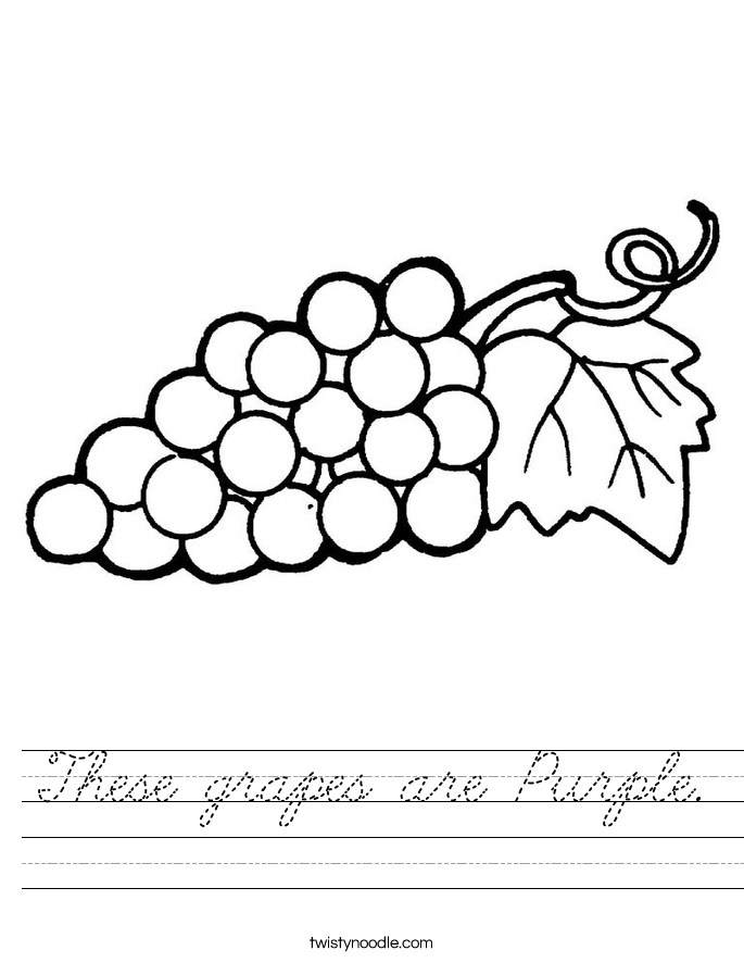 These grapes are Purple. Worksheet