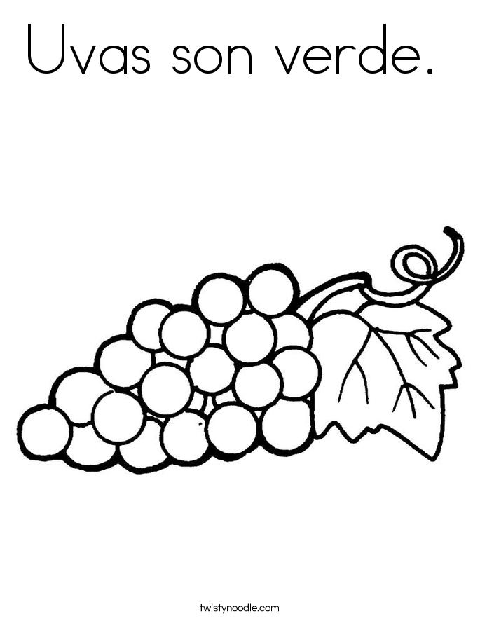 Uvas son verde.  Coloring Page