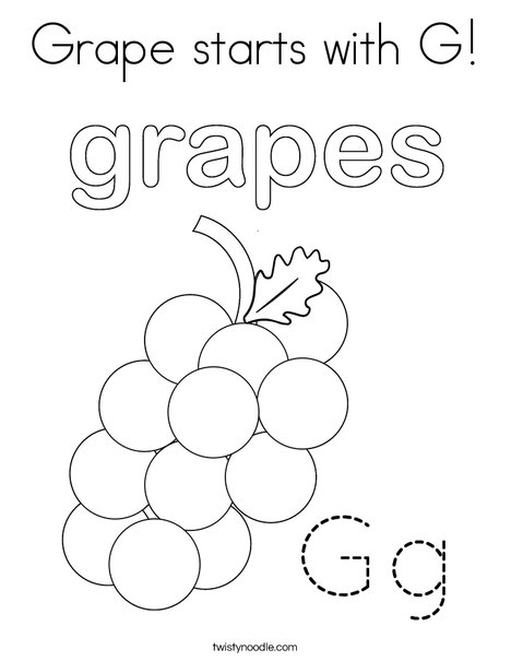 Grapes start with G! Coloring Page