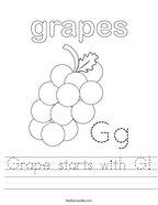 Grape starts with G Handwriting Sheet