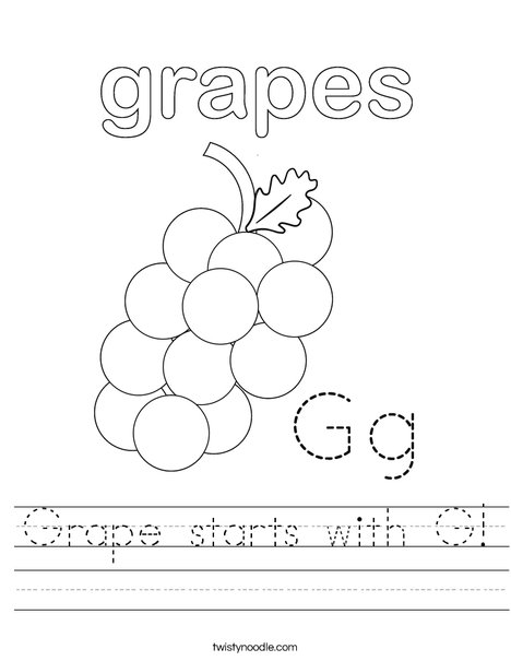 Grapes start with G! Worksheet