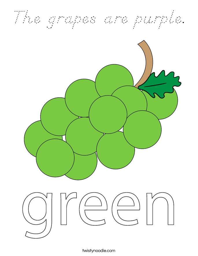 The grapes are purple. Coloring Page
