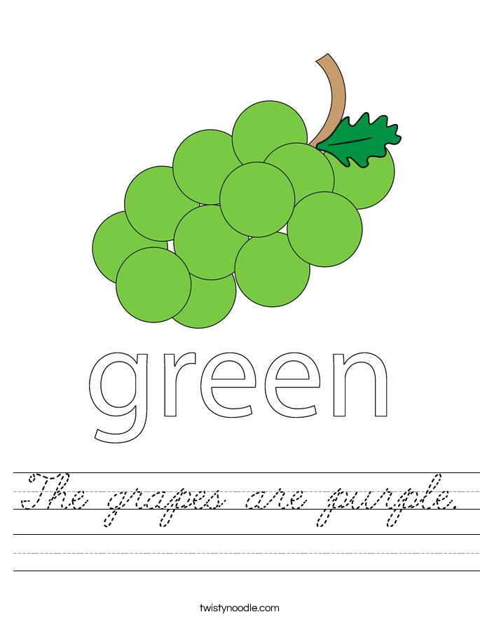 The grapes are purple. Worksheet