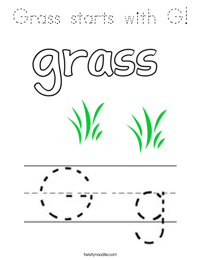 Grass starts with G! Coloring Page