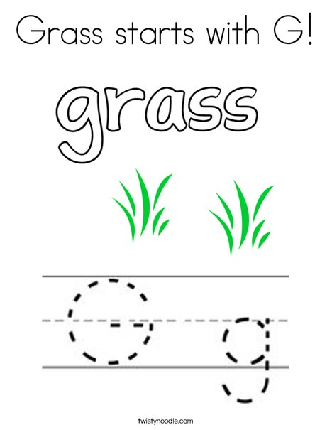Grass Starts With G Coloring Page