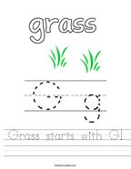 Grass starts with G Handwriting Sheet