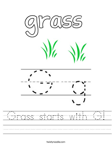 Grass starts with G! Worksheet