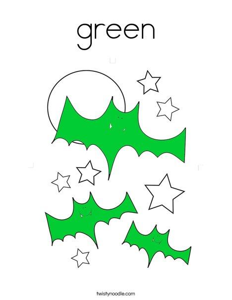 Green Bats Coloring Page
