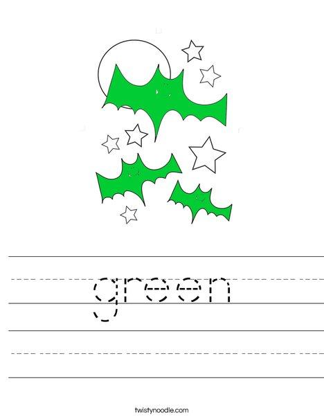 Green Bats Worksheet