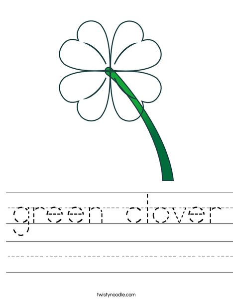 Green Clover Worksheet