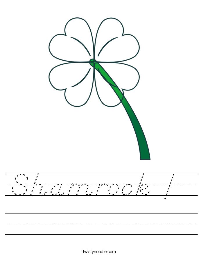 Shamrock !  Worksheet