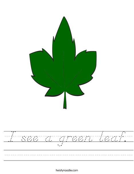Green Fall Leaf Worksheet